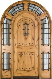 strong fiberglass arched entry door design with curved sidelights