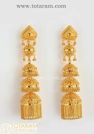 gold chandelier earrings 22 karat gold jhumkas gold chandelier earrings 235 gjh113 in