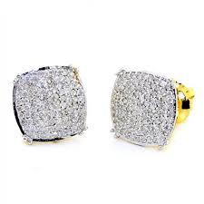 big stud earrings big diamond stud earrings for men 0 50ct 10k yellow gold pave set