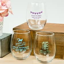 wine glass party favor personalized 15 ounce stemless wine glass favors