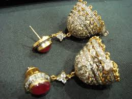 jhumki style earrings in gold traditional style ruby with cz jhumki earrings made in sterling