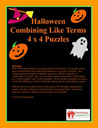 halloween math puzzle combining like terms by the gurgals tpt