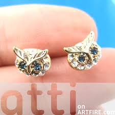 original earrings tiny owl bird animal stud earrings in gold with rhinestones