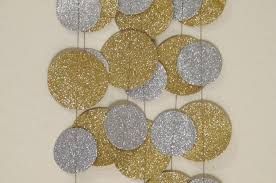 gold and silver glitter paper garland wedding or