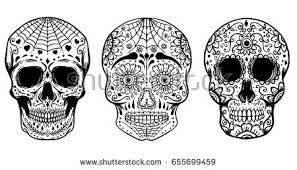 Day Of The Dead White Set Hand Drawn Sugar Skulls Isolated Stock Vector 655699459