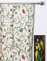 Cotton Drapery Panels Techmal Crewel Curtain Panels And Drapes Hand Embroidered Cotton