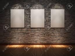 blank frame on stone wall illuminated spotlights stock photo