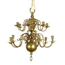 Brass Chandelier Small Scale 2 Tier 12 Light Dutch Brass Chandelier Circa 1880