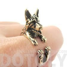 german shepherd shaped animal wrap ring in shiny gold u2013 dotoly