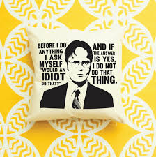 Home Decor Tv Shows by The Office Tv Show Dwight Schrute Idiot Quote Pillow Home Decor
