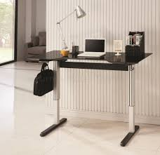 Office Desk Black by Office Desk In Black U0026 Silver Tone W Adjustable Height