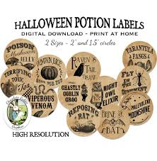 potion bottle label circles halloween witch digital download