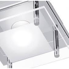 modern square flush led ceiling light in polished chrome