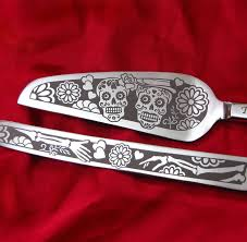 personalized wedding serving sets day of the dead wedding cake server and knife set personalized