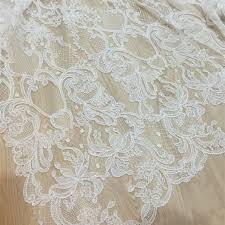 luxury ivory abstract embroidered lace with beads and sequins