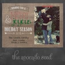 burlap rustic holiday christmas card professional prints or diy
