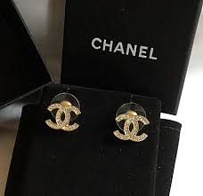 cc earrings chanel cc classic gold stud earrings hallmark authentic