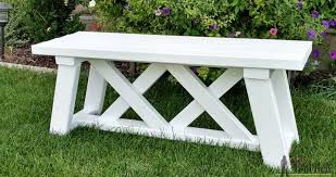 Free Plans For Outdoor Furniture by Double X Bench Plans Her Tool Belt