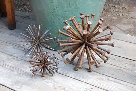 Metal Garden Art Steel Sphere Sculpture Industrial Art Up Cycled Nails Recycled