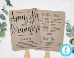 diy wedding program fan template wedding program fan etsy