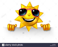 sun character holding a blank sign for summer as a three stock