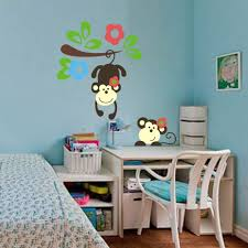 cute monkey playing colorful tree wall decal cute monkey wall sticker nursery for kids colorful tree decal