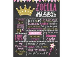 birthday chalkboard royal princess birthday chalkboard sign