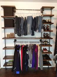 Black Pipe Shelving by Best 25 Pipe Closet Ideas On Pinterest Industrial Closet