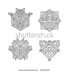 ancient ornament symbols set sacred geometry stock vector