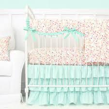 Mint Green Crib Bedding Mini Floral Mint Pastel Crib Bedding Set By Caden