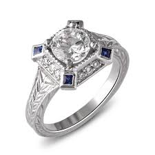 14k white gold art deco halo diamond and sapphire engagement ring