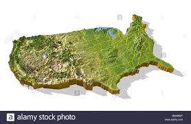 United States Map With Interstates by Coterminous United States 3d Relief Map Cut Out With Urban Areas