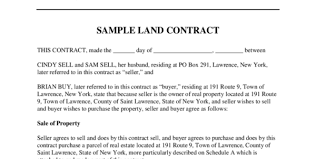 land contract form 5 free templates in pdf word excel download