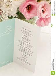 Beautiful Menu Menu Card With Beautiful Flowers On Table In Wedding Day Stock
