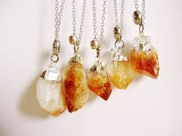 jewelry crystal necklace silver images Raw citrine crystal necklace point silver dipped natural stone jpg