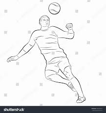 sketchheaded soccer player black white drawing stock vector