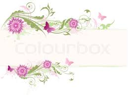 vector floral background with pink flowers and green ornament