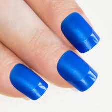 nails by bling art blue matte french manicure fake medium tips