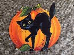 Hallmark Halloween Ornaments by Vintage Hallmark Die Cut Cardboard Cat And Pumpkin On Vine