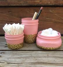Gold And Silver Bathroom Accessories Glitter Mason Jar Bathroom Set Perfect For Makeup Brushes