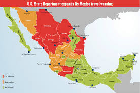 travel warnings images Us travel warnings mexico map png