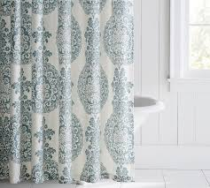 Blue Damask Shower Curtain Lucianna Medallion Shower Curtain Pottery Barn
