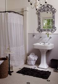 Shower Curtain Wire Cottage Full Bathroom With Wainscoting U0026 Penny Tile Floors