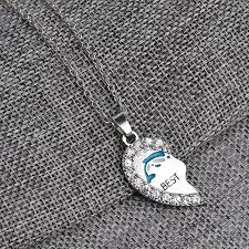 jewelry crystal necklace silver images Heart blue dolphin friendship crystal necklace for women best jpg