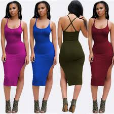 club clothes women clothing summer style black backless midi dress side