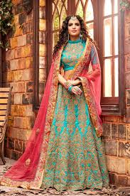 silk lenghas for ring ceremony online turquoise heavy zari work