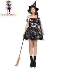 scary womens costumes carnival style women black witch costume with cap fluffy