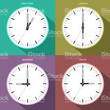 time zone clocks for four different countries abstract art stock