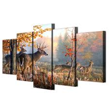 5 pieces deer outdoor forest canvas wall paintings for sale it