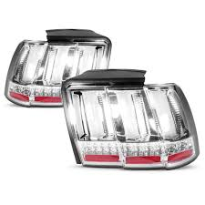 99 04 mustang sequential tail light kit sequential s550 style tail lights chrome 99 04